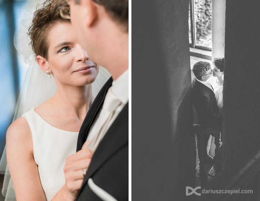 plenerowa sesja ślubna we wnętrzach