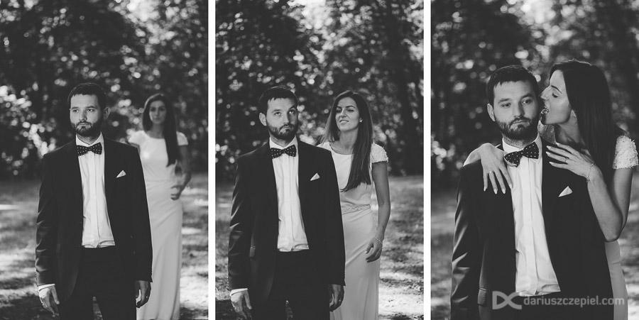 Czarno-białe fotografie ślubne wykonane na dzielnicy Prokocim, Kraków