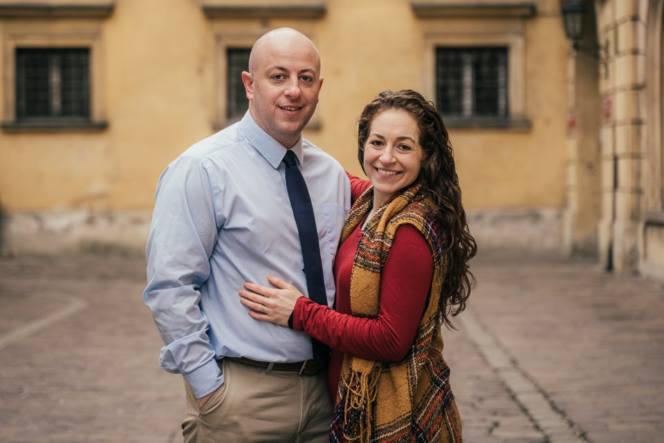 engagement photoshoot for a couple visiting Krakow during their holidays